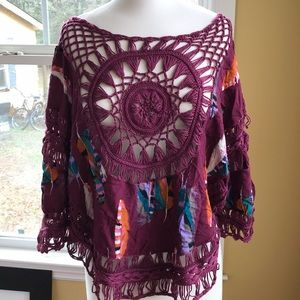 Nit feather print top